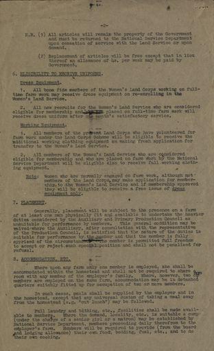 Women's Land Service Rules 2