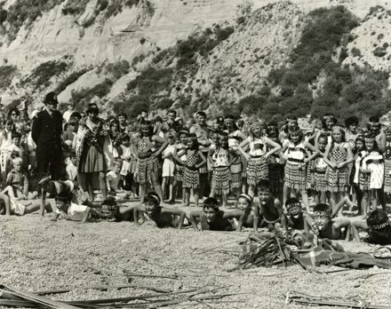 Kapa Haka during re-enactment of the river landing of early settlers, for Palmerston North Centennial