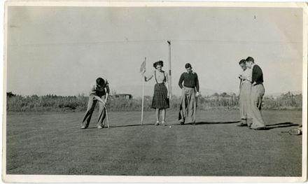 Playing golf at Awatapu Golf Links