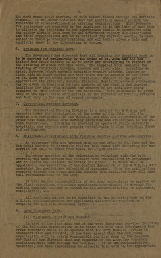 Memorandum from the National Service Department Page 2 outlining the functions of women's volunteer wartime organisations