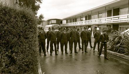 Protesters at the Fitzherbert Motor Inn