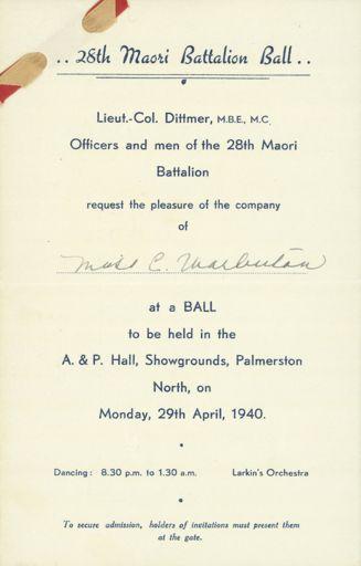 28th Maori Battalion Ball invitation
