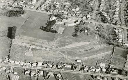 Aerial view of Hokowhitu School and surrounding area