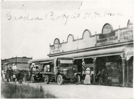 Foster's Boarding House, Co-op Store and Lyon's Tailor Shop - Douglas Square, Rongotea