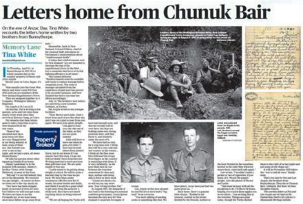 "Memory Lane - ""Letters home form Chunuk Bair"""