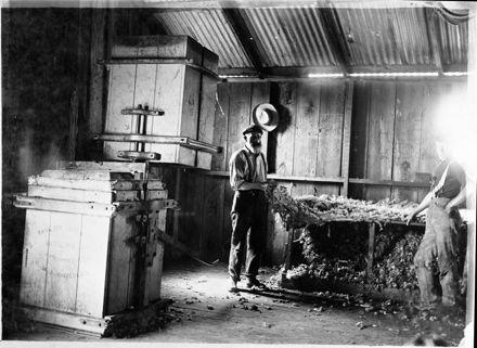Wool press in woolshed, Bunnythorpe