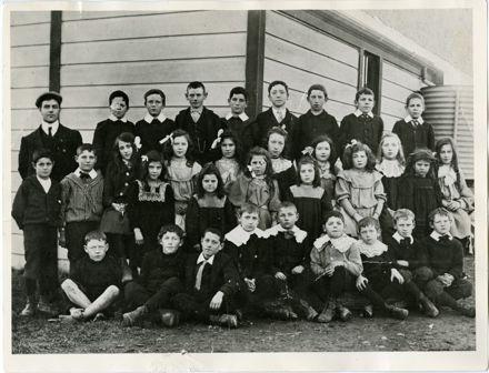 Teacher and pupils of Awahou South School