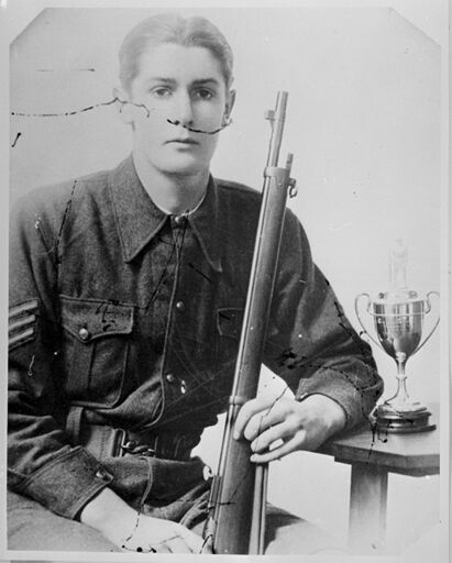Sergeant W.F. Barber, winner of the Godley Cup