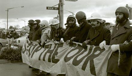 Anti-Apartheid and anti-Tour protest vanguard on match day.
