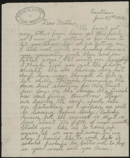 Letter from Les Argyle, from Trentham in WWI