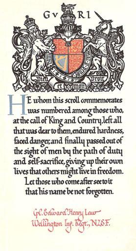 Edward Henry LAW scroll