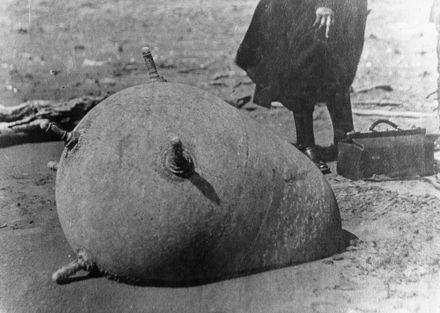 German mine - washed up on beach, 14 Nov 1918