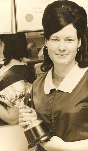 Miss Wilson, a winner in hairdressing competitions, 1969