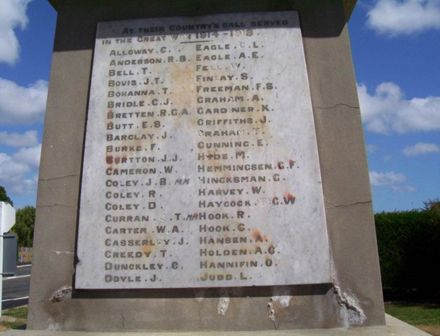 Shannon Memorial of men who went to WW1