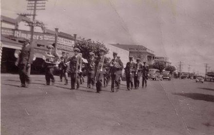 Foxton Band in Main Street, 1940's?