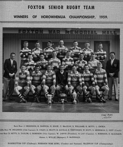 Foxton Senior Rugby Team 1959