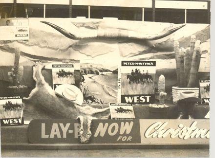 Winning window display, McLeods Book Centre, 1970