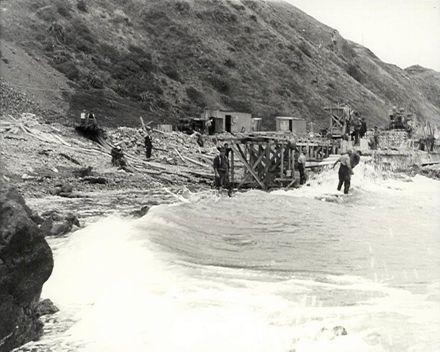 Building the Sea Wall, Paekakariki, 1938