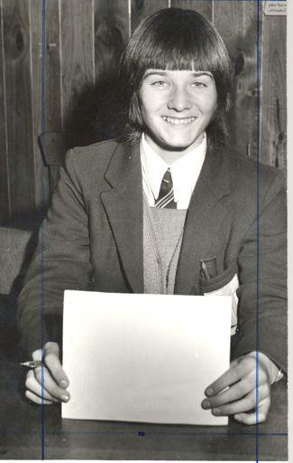 Otaki College girl (unnamed) holding pen & paper
