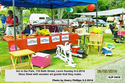 HJP 0419  Art in the Park, 119 Bath Street, Levin Sunday 9-2-2014 Menz Shed with wooden art goods that they make.