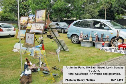 HJHP 0419   Art in the Park, 119 Bath Street, Levin Sunday 9-2-2014  Hotel Calafornia  Art Works and ceramics