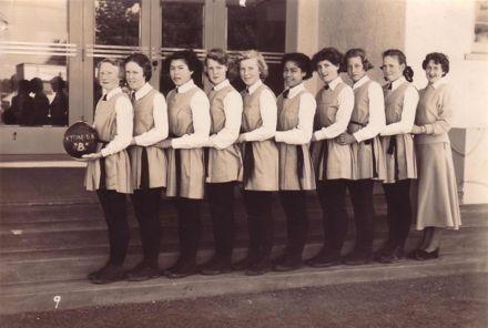 "Foxton School, ""B"" Netball Team, 1952?"