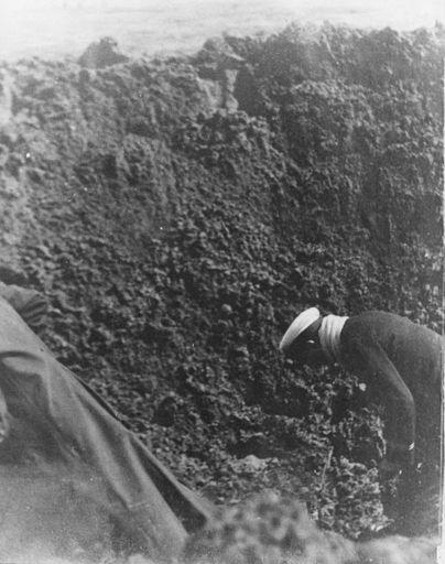 German mine - exploded on beach, 14 Nov 1918
