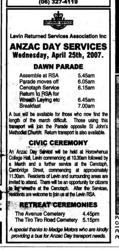 Anzac Day observances 2007