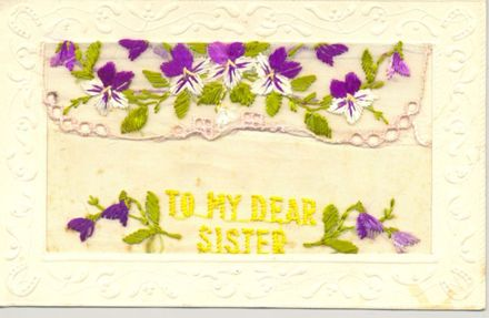 To My Dear Sister - an embroidered postcard.