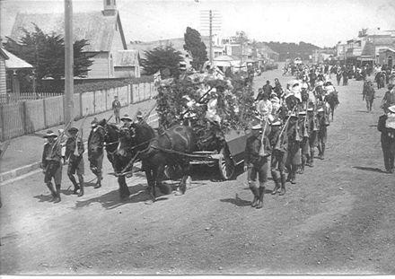 Queen Carnival Parade in Main Street, Foxton