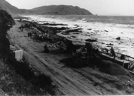Sea-wall and Coastal Highway Under Construction, 1938