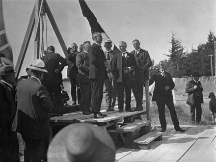 Laying the foundation stone - Feilding Agricultural High School