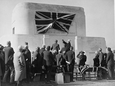 Unveiling the Mt Stewart Centennial Memorial, c. 1940