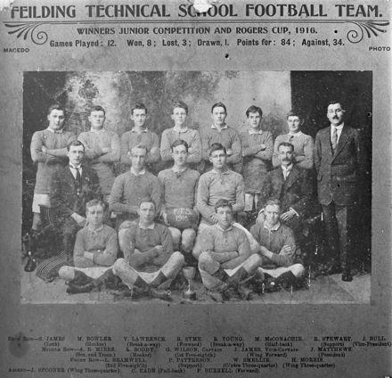 Feilding Technical School Football Team, c. 1916