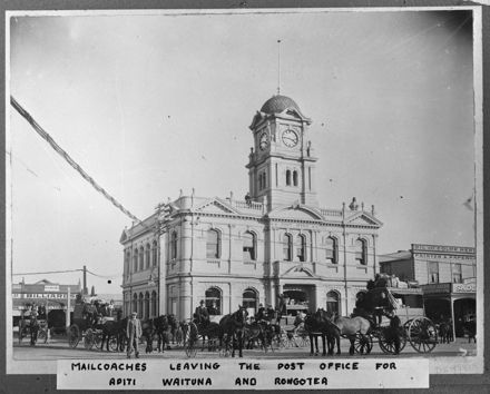 Mailcoaches Outside Feilding Post Office, c. 1900s