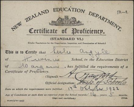 Leslie Argyle's Certificate of Proficiency