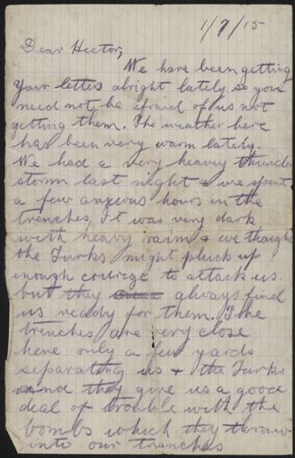 Letter from Gallipoli during WWI