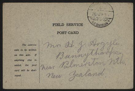 WWI Field Service postcard