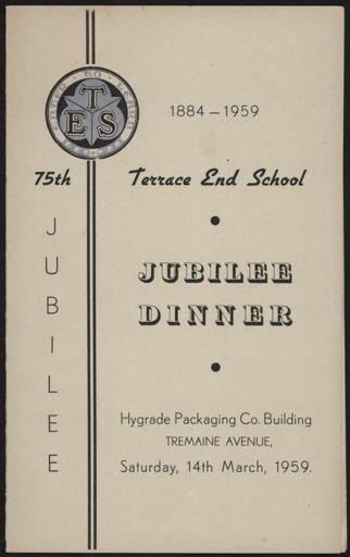 Terrace End 75th Jubilee dinner menu