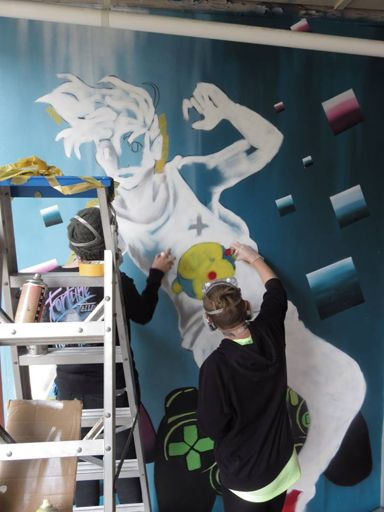 Youth Space mural during creation